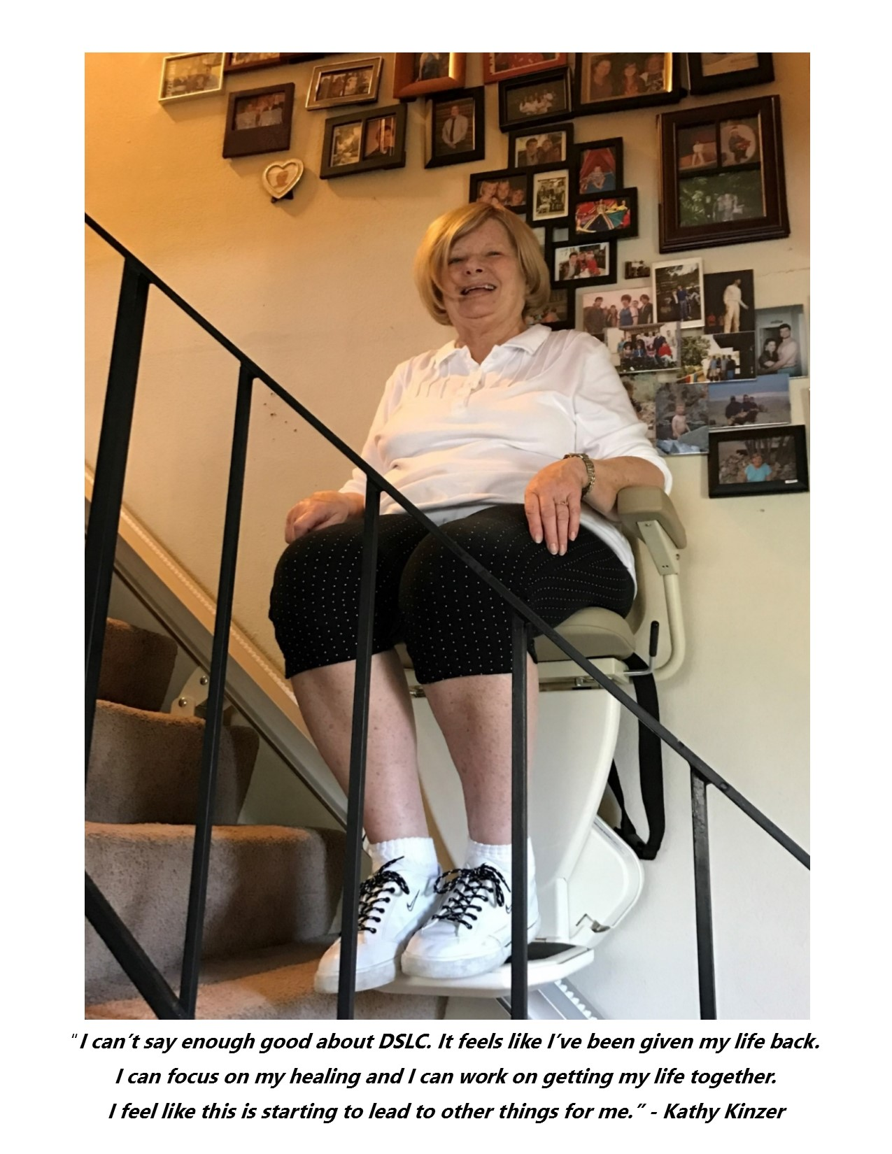 DSLC client Kathy Kinzer showcasing her new stair lift