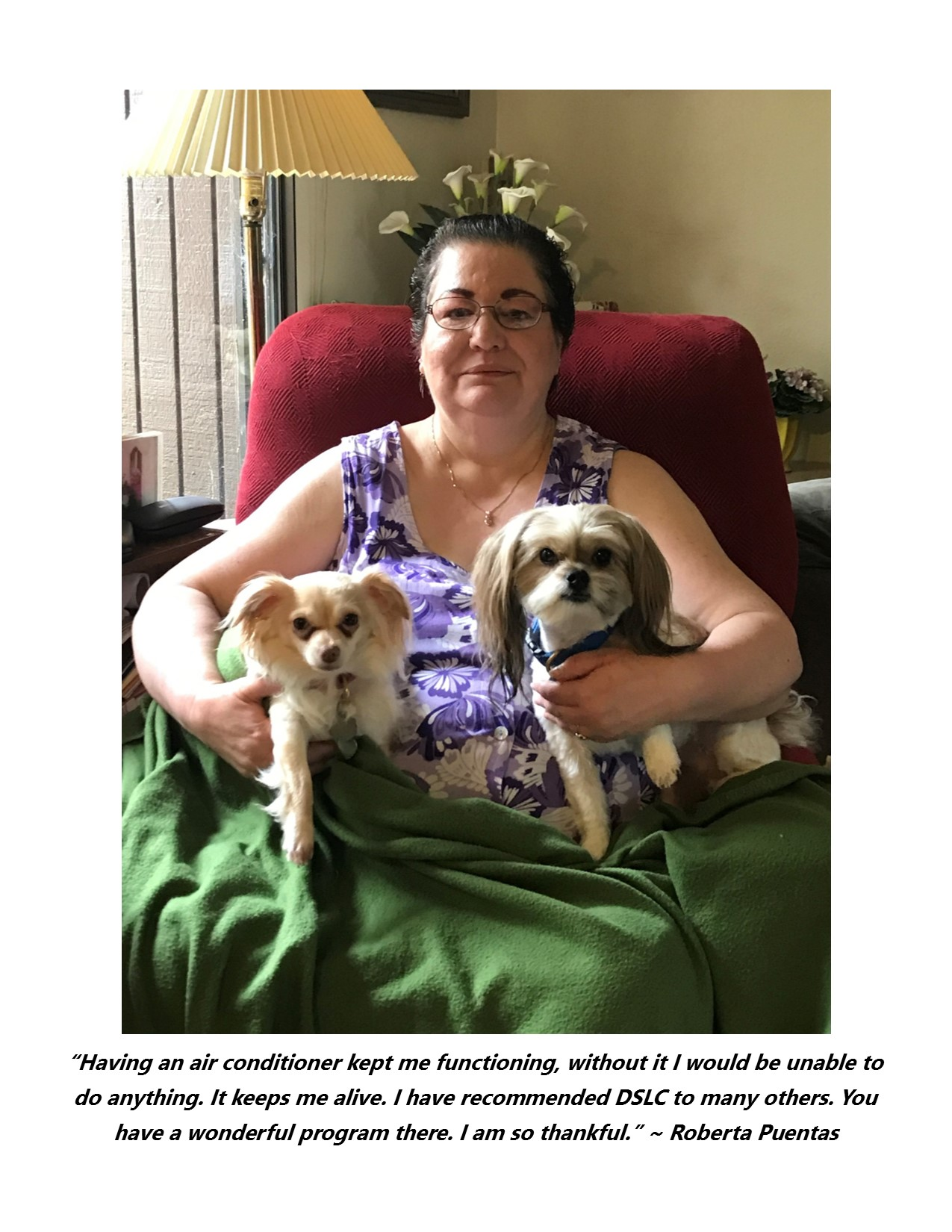 DSLC client Roberta Puentes grateful to DSLC for help she has received